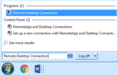 screen shot of remote desktop connection dialogue box
