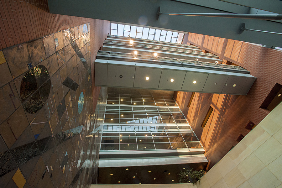 Interior architectural details of the Biology Physics Building